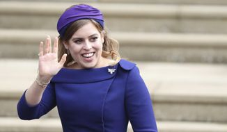 FILE - In this Friday Oct. 12, 2018 file photo, Britain's Princess Beatrice arrives for the wedding of Princess Eugenie of York and Jack Brooksbank at St George's Chapel, Windsor Castle, near London, England. Buckingham Palace announced Friday Feb. 7, 2020, that Queen Elizabeth II's granddaughter Princess Beatrice will marry Edoardo Mapelli Mozzi in London on May 29. (Steve Parsons/Pool via AP, File)