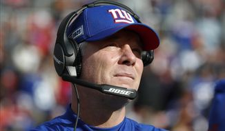 FILE - In this Dec. 22, 2019, file photo, New York Giants head coach Pat Shurmur looks on prior to an NFL football game against the Washington Redskins in Landover, Md. Shurmur was recently hired by the Denver Broncos as offensive coordinator. (AP Photo/Alex Brandon, File)