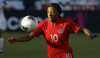Canada defender Ashley Lawrence brings the ball downfield during the first half of a CONACAF women's Olympic qualifying soccer match against Costa Rica on Friday, Feb. 7, 2020, in Carson, Calif. (AP Photo/Chris Carlson)