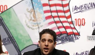 """Tony Valdovinos speaks during a press conference preview for the musical """"Americano!"""" based on his life Wednesday, Jan. 22, 2020, in Phoenix. Valdovinos didn't know he was in the U.S. illegally until he tried to join the Marine Corps at 18 and learned he was born in Mexico, but channeled disappointment into activism, and enrolled in the Obama-era Deferred Action for Childhood Arrivals program. (AP Photo/Ross D. Franklin)"""