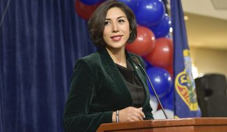 In this Tuesday, Nov. 6, 2018, file photo, then-Democratic gubernatorial candidate Paulette Jordan addresses supporters at an election night party in Boise, Idaho. (AP Photo/Diane Loos, File)