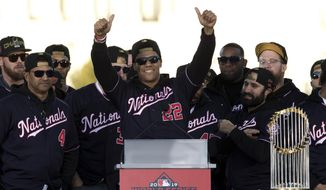 In this Nov. 2, 2019, file photo, Washington Nationals left fielder Juan Soto, center, celebrates with teammates during a rally following a parade to celebrate the team's World Series baseball championship over Houston Astros in Washington. The Nationals head to spring training with mostly the same squad that won the World Series. They are counting again on being led by a star-studded rotation featuring Max Scherzer and Stephen Strasburg, along with slugger Soto. (AP Photo/Jose Luis Magana, File)  **FILE**