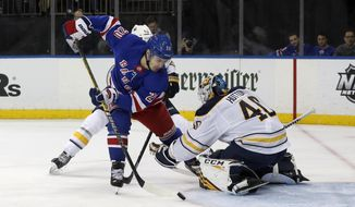 New York Rangers left wing Chris Kreider (20) misses a scoring chance during the second period of an NHL hockey game against Buffalo Sabres goaltender Carter Hutton, Friday, Feb. 7, 2020, in New York. (AP Photo/Jim McIsaac)