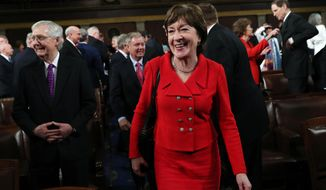 Sen. Susan Collins, R-Maine, arrives for President Donald Trump's State of the Union address to a joint session of Congress in the House Chamber on Capitol Hill in Washington, Tuesday, Feb. 4, 2020. (Leah Millis/Pool via AP)