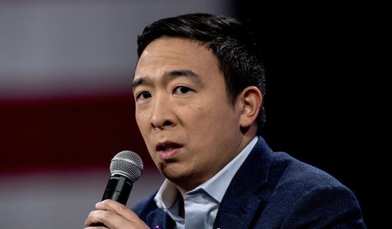 """Andrew Yang speaks at """"Our Rights, Our Courts"""" forum New Hampshire Technical Institute's Concord Community College, Saturday, Feb. 8, 2020, in Concord, N.H. (AP Photo/Andrew Harnik)  ** FILE **"""