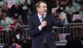 Democratic presidential candidate Sen. Michael Bennet, D-Colo., speaks during the McIntyre-Shaheen 100 Club Dinner, Saturday, Feb. 8, 2020, in Manchester, N.H. (AP Photo/Mary Altaffer)