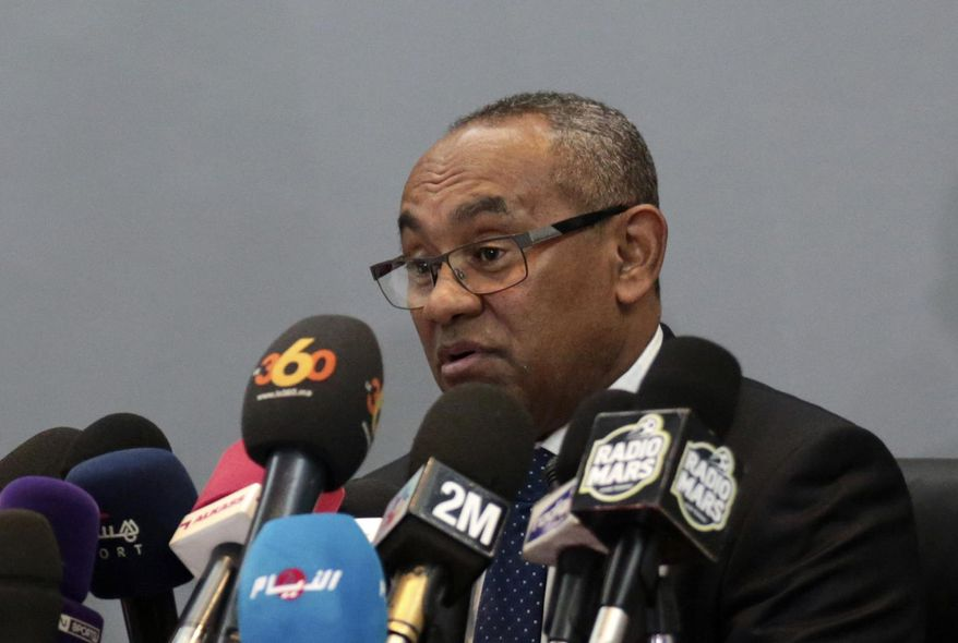 FILE - In this Tuesday, March 28, 2017 file photo, new president of the African soccer confederation Ahmad speaks at a press conference in Marrakesh, Morocco. Financial wrongdoing across African soccer has been unearthed in a confidential audit of the continent's governing body that raises concerns about the legitimacy of millions of dollars of payments to executives and national associations. The report covers the period 2015-2019 and the presidencies of Issa Hayatou and successor Ahmad, who remains in power. (AP Photo/Mosa'ab Elshamy, File)