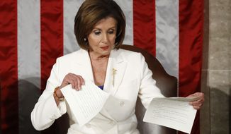 House Speaker Nancy Pelosi of Calif., tears her copy of President Donald Trump's s State of the Union address after he delivered it to a joint session of Congress on Capitol Hill in Washington, Tuesday, Feb. 4, 2020. (AP Photo/Patrick Semansky) **FILE**