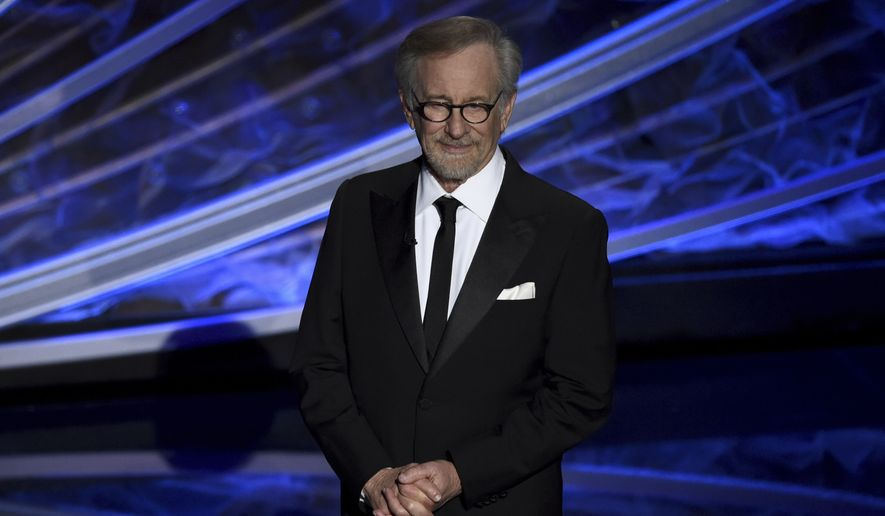 Steven Spielberg introduces the in memoriam tribute at the Oscars on Sunday, Feb. 9, 2020, at the Dolby Theatre in Los Angeles. (AP Photo/Chris Pizzello)