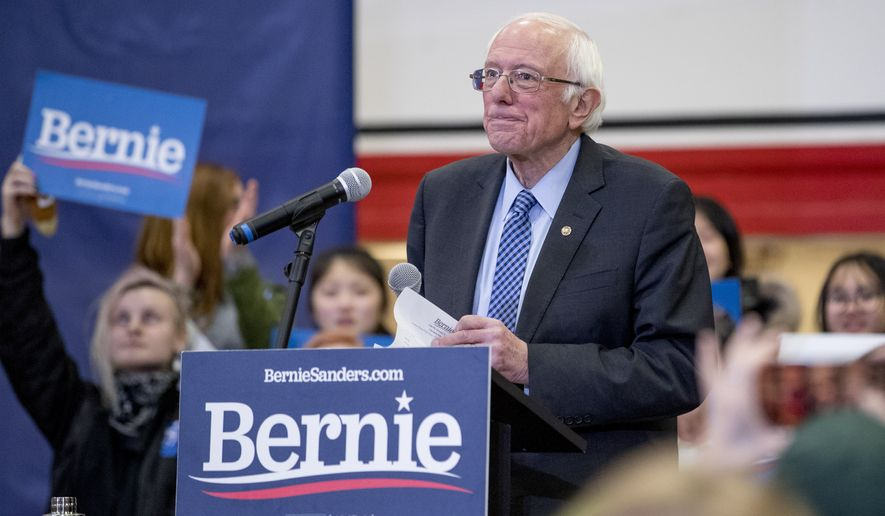 Democratic presidential candidate Sen. Bernie Sanders, I-Vt., pauses while speaking at a campaign stop at Stevens High School, Sunday, Feb. 9, 2020, in Claremont, N.H. (AP Photo/Andrew Harnik)