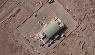 This Feb. 4, 2020 satellite image from Maxar Technologies, shows activity at the Imam Khomeini Space Center in Iran's Semnan province. An Iranian rocket failed to put a satellite into orbit on Sunday, Feb. 9, 2020, state television reported, the latest setback for a program the U.S. claims helps Tehran advance its ballistic missile program. (Maxar Technologies via AP)