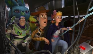 "This image released by Disney shows, foreground from left, Buzz Lightyear, voiced by Tim Allen, Woody, voiced by Tom Hanks and Bo Peep, voiced by Annie Potts in a scene from the Oscar-nominated animated film ""Toy Story 4.""  (Disney/Pixar via AP)"