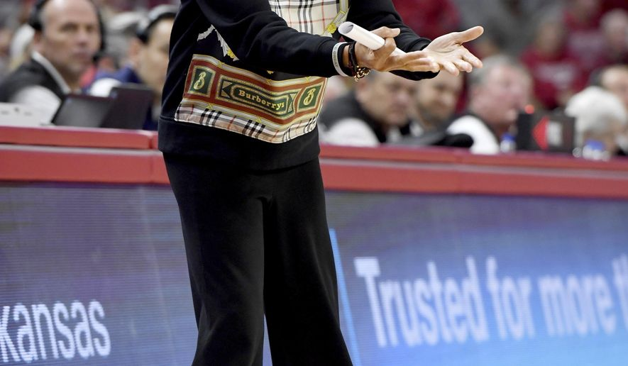 South Carolina coach Dawn Staley gestures during the second half of the team's NCAA college basketball game against Arkansas on Thursday, Feb. 6, 2020, in Fayetteville, Ark. (AP Photo/Michael Woods)