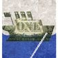 Illustration on anchoring the dollar to gold by Alexander Hunter/The Washington Times
