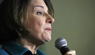 Democratic presidential candidate Sen. Amy Klobuchar, D-Minn., speaks during a campaign event at Exeter Town Hall, Monday, Feb. 10, 2020, in Exeter, N.H. (AP Photo/Elise Amendola)