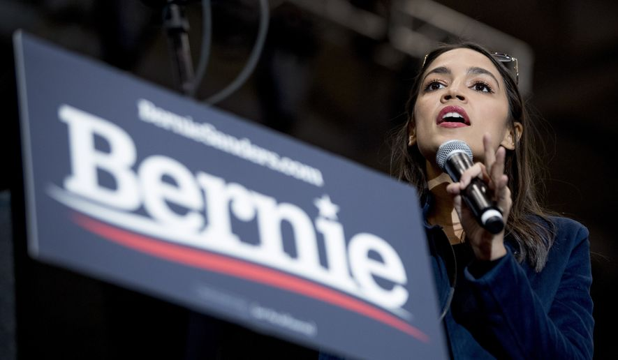 Rep. Alexandria Ocasio-Cortez, D-N.Y., speaks at a campaign rally for Democratic presidential candidate Sen. Bernie Sanders, I-Vt., at the Whittemore Center Arena at the University of New Hampshire, Monday, Feb. 10, 2020, in Durham, N.H. (AP Photo/Andrew Harnik) **FILE**