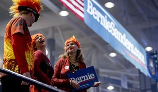 Members of the audience in costume stand as they hear the band Sunflower Bean perform before Democratic presidential candidate Sen. Bernie Sanders, I-Vt., speaks at at campaign stop at the Whittemore Center Arena at the University of New Hampshire, Monday, Feb. 10, 2020, in Durham, N.H. (AP Photo/Andrew Harnik)