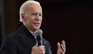 Democratic presidential candidate former Vice President Joe Biden speaks during a campaign rally, Sunday, Feb. 9, 2020, in Hudson, N.H. (AP Photo/Mary Altaffer)
