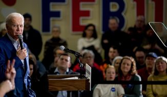 Democratic presidential candidate former Vice President Joe Biden speaks at a campaign stop at Cilford Community Curch, Monday, Feb. 10, 2020, in Gilford, N.H. (AP Photo/Andrew Harnik)