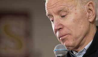 Democratic presidential candidate former Vice President Joe Biden speaks, Sunday, Feb. 9, 2020, in Hudson, N.H. (AP Photo/Mary Altaffer)
