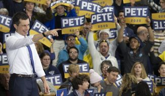 Democratic presidential candidate former South Bend, Ind. Mayor Pete Buttigieg points towards the audience during a campaign rally, Sunday, Feb. 9, 2020, in Nashua, N.H. (AP Photo/Mary Altaffer)
