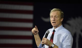 Democratic presidential hopeful Tom Steyer speaks at a campaign town hall event, Monday, Feb. 10, 2020, in Rock Hill, S.C. (AP Photo/Meg Kinnard)