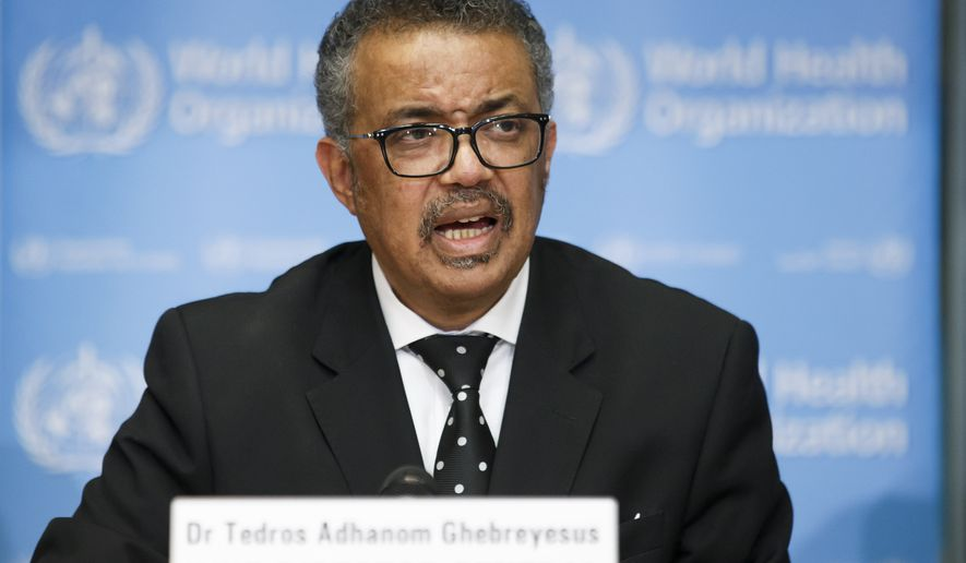 Tedros Adhanom Ghebreyesus, Director General of the World Health Organization (WHO), addresses the media during a press conference at the World Health Organization (WHO) headquarters in Geneva, Switzerland, Monday, Feb. 10, 2020 on the situation regarding to the new coronavirus. (Salvatore Di Nolfi/Keystone via AP) **FILE**