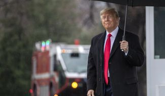 President Donald Trump walks on the South Lawn as he leaves the White House, Monday, Feb. 10, 2020, in Washington for a trip to Manchester, N.H., for a campaign rally. (AP Photo/Manuel Balce Ceneta)