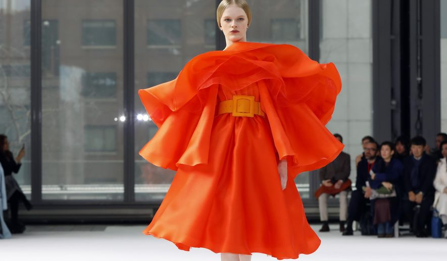 The Carolina Herrera collection is modeled during Fashion Week in New York, Monday, Feb. 10, 2020. (AP Photo/Richard Drew)