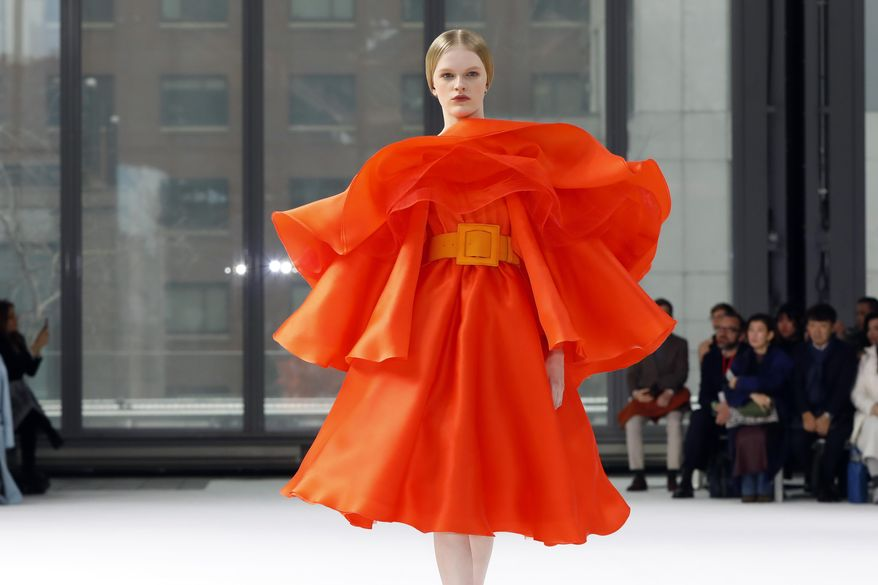 The Carolina Herrera collection is modeled during Fashion Week in New York, Monday, Feb. 10, 2020. (AP Photo/Richard Drew)