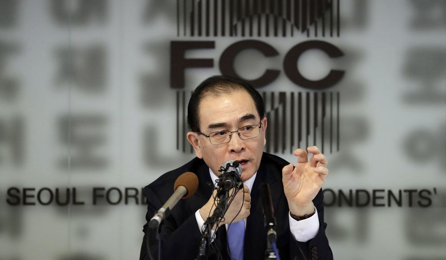 FILE - In this Feb. 19, 2019 file photo, Thae Yong Ho, former North Korean diplomat, who defected to South Korea in 2016, speaks to the media in Seoul, South Korea. Thae will join the South's main conservative party and run in April's parliamentary elections, party officials said Monday, Feb. 19, 2010. (AP Photo/Lee Jin-man, File)