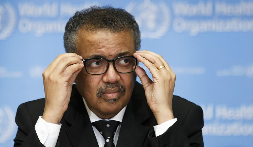 Tedros Adhanom Ghebreyesus, director-general of the World Health Organization (WHO), addresses the media during a press conference at the WHO headquarters in Geneva on Feb. 10, 2020, on the situation regarding the new coronavirus. (Salvatore Di Nolfi/Keystone via AP) **FILE**