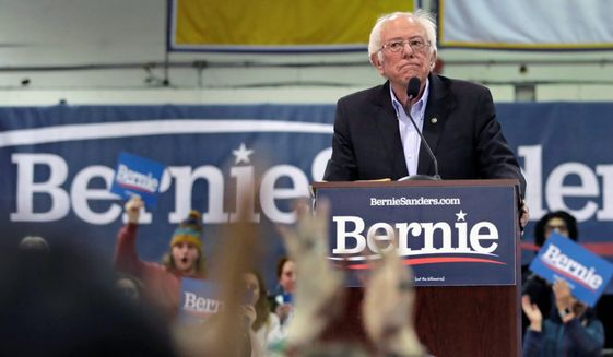 Sen. Bernard Sanders was targeted in a campaign that said his policies would reelect President Trump. (Associated Press)