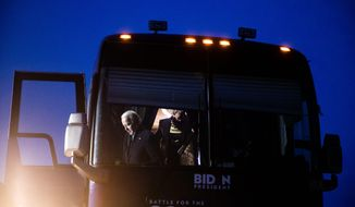 Presidential candidate Vice President Joseph R. Biden's campaign bus broke down in New Hampshire over the weekend, mirroring the breakdown of his campaign. (Associated Press)