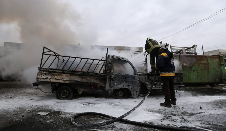 The latest violence in Idlib, Syria, came as government forces came closer to capturing the last rebel-held part of a strategic highway linking southern and northern Syria, which would bring the road under Syrian President Bashar Assad's full control for the first time since 2012. (ASSOCIATED PRESS PHOTOGRAPHS)