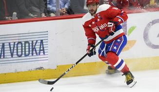 Washington Capitals left wing Alex Ovechkin (8), of Russia, skates with the puck during the second period of an NHL hockey game against the New York Islanders, Monday, Feb. 10, 2020, in Washington. (AP Photo/Nick Wass)