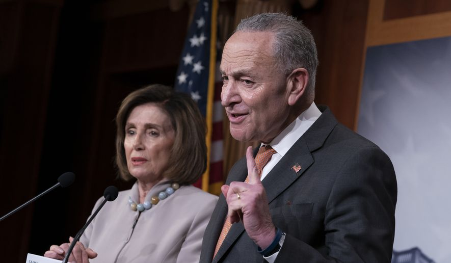 Speaker of the House Nancy Pelosi, D-Calif., left, and Senate Minority Leader Chuck Schumer, D-N.Y., talk to reporters about President Donald Trump's budget request for fiscal year 2021, at the Capitol in Washington, Tuesday, Feb. 11, 2020. (AP Photo/J. Scott Applewhite) ** FILE **