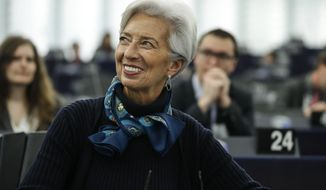 Christine Lagarde president of the ECB reacts before making a speech during the annual report 2018 of the ECB, before the European Parliament's economic and monetary affairs committee at the European Parliament in Strasbourg, France, Tuesday Feb. 11, 2020.  Lagarde warned that the world's central banks have little room to stimulate growth in the economy as interest rates and inflation are already very low. (AP Photo/Jean-François Badias)