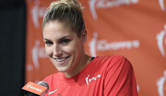 In this Sept. 19, 2019, file photo, Washington Mystics forward Elena Delle Donne speaks at a press conference where she was named the 2019 WNBA most valuable player in Washington. The WNBA champion Mystics say reigning MVP Elena Delle Donne is expected to be ready for the start of the season after undergoing back surgery. (AP Photo/Nick Wass, File) **FILE**
