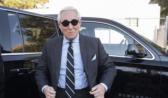 Roger Stone arrives at Federal Court for the second day of jury selection for his federal trial, in Washington. (AP Photo/Cliff Owen) ** FILE **