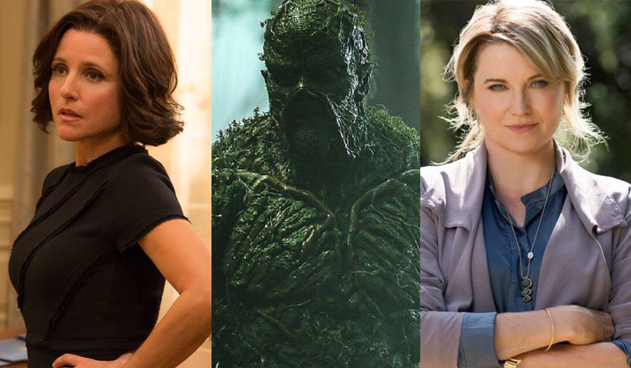 """Julia Louis-Dreyfus as Selina Myers in """"Veep"""","""" the mysterious creature from """"Swamp Thing,"""" and Lucy Lawless as Alexa Crowe in """"My Life is Murder."""""""