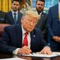 President Trump on Wednesday signed an executive order aimed at preventing an electronic disruption of systems that rely on accurate precision, navigation and timing. (Associated Press/File)