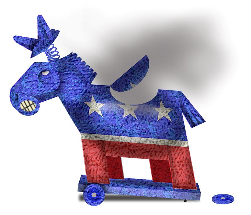 Illustration on Democratic Party breakdown by Alexander Hunter/The Washington Times