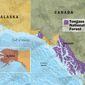 Tongass National Forest, Alaska Map by Greg Groesch/The Washington Times