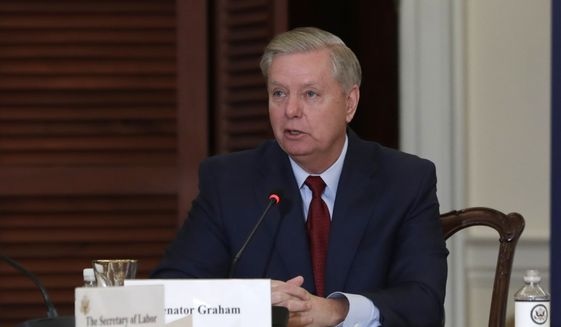 Sen. Lindsey Graham, R-S.C., left, speaks during the Women's Global Development and Prosperity Initiative one-year anniversary event co-hosted by Secretary of State Mike Pompeo and Senior Adviser to the President Ivanka Trump at the State Department in Washington, Wednesday, Feb. 12, 2020. Mr. Graham, the chairman of the Senate Judiciary Committee, announced on Feb. 14, 2020, that he has requested interviews with more than a dozen individuals involved in the investigation into Donald Trump's 2016 and possible collusion with Russia. (AP Photo/Luis M. Alvarez) ** FILE **