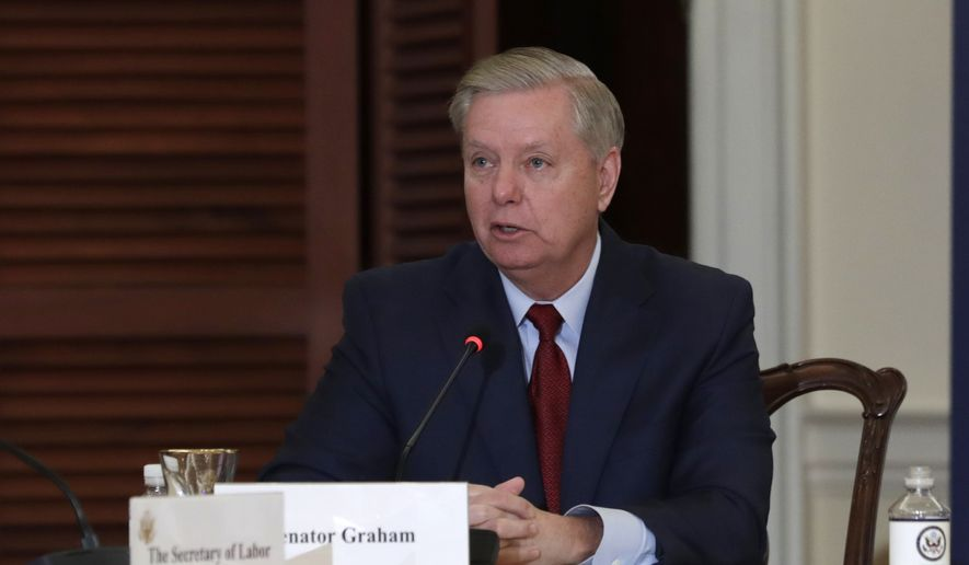 Sen. Lindsey Graham, R-S.C., left, speaks during the Women's Global Development and Prosperity Initiative one-year anniversary event co-hosted by Secretary of State Mike Pompeo and Senior Advisor to the President, Ivanka Trump, at the State Department in Washington, Wednesday, Feb. 12, 2020. Mr. Graham, the chairman of the Senate Judiciary Committee, announced on Feb. 14, 2020, that he has requested interviews with more than a dozen individuals involved in the investigation into Donald Trump's 2016 and possible collusion with Russia. (AP Photo/Luis M. Alvarez) **FILE**