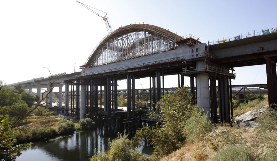 FILE - This Oct. 9, 2019 file photo is the high speed rail viaduct under construction over the San Joaquin River near Fresno, Calif. The California High-Speed Rail Authority is bumping its overall cost estimate for completing the rail line between San Francisco and Los Angeles to more than $80 billion. (AP Photo/Rich Pedroncelli, File)