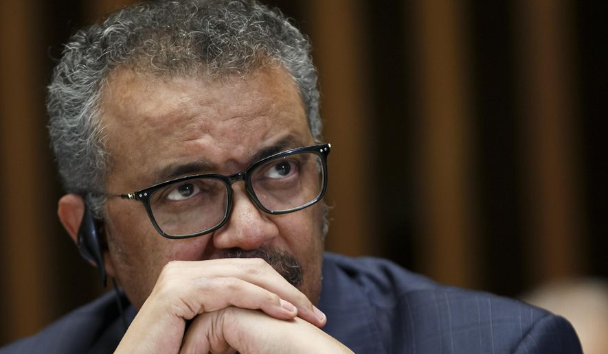 Tedros Adhanom Ghebreyesus, director-general of the World Health Organization (WHO), gives a statement to the media about the response to the COVID-19 virus outbreak, at the World Health Organization (WHO) headquarters in Geneva, Switzerland, Wednesday, Feb. 12, 2020.  The disease caused by the novel coronavirus (SARS-CoV-2) has been officially named COVID-19 by the World Health Organization (WHO). (Salvatore Di Nolfi/Keystone via AP)  **FILE**
