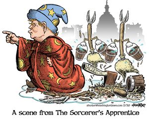 A scene from the Sorcerer's Apprentice