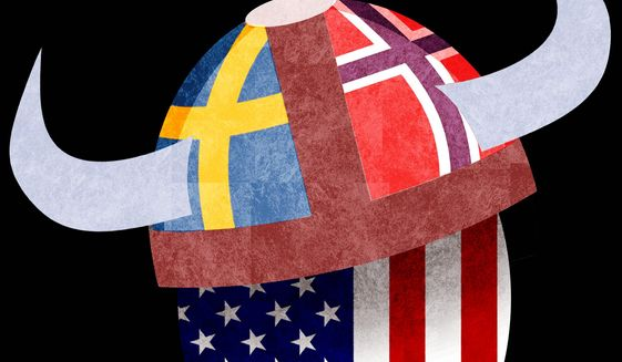 Illustration on adapting Nordic ideas of government by Alexander Hunter/The Washington Times